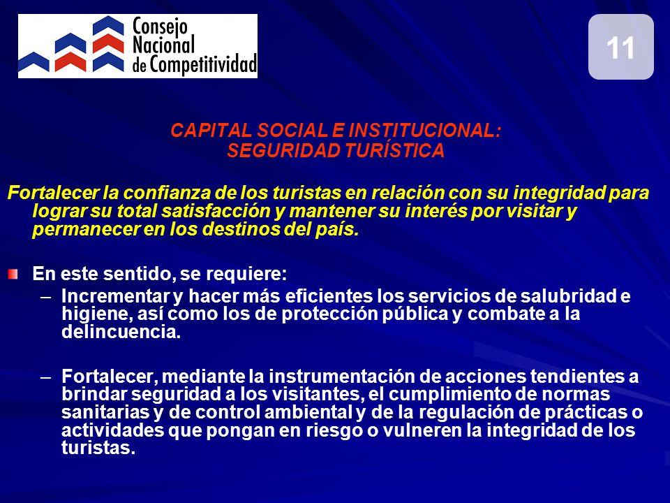 CAPITAL SOCIAL E INSTITUCIONAL: SEGURIDAD TURÍSTICA Fortalecer la confianza de los turistas en relación con su integridad para lograr su total satisfa