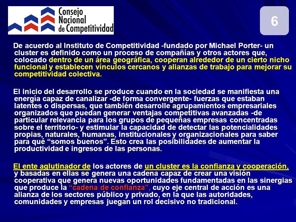 De acuerdo al Instituto de Competitividad -fundado por Michael Porter- un cluster es definido como un proceso de compañías y otros actores que, coloca