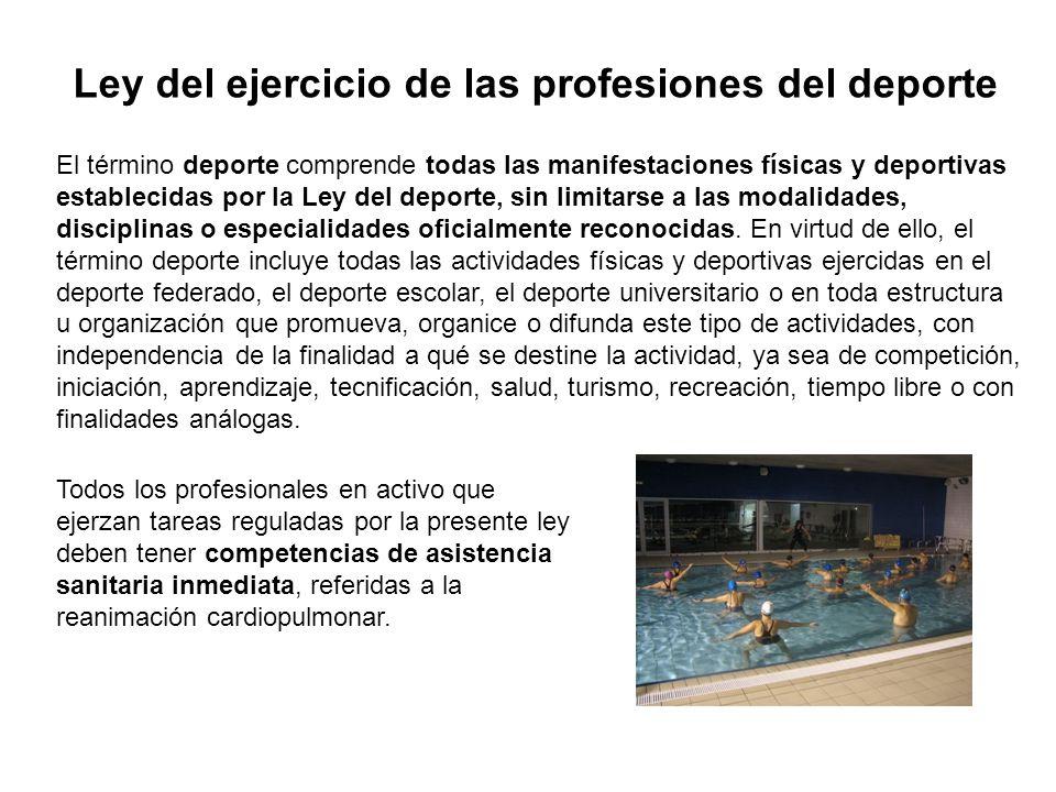 Ley del ejercicio de las profesiones del deporte El término deporte comprende todas las manifestaciones físicas y deportivas establecidas por la Ley del deporte, sin limitarse a las modalidades, disciplinas o especialidades oficialmente reconocidas.