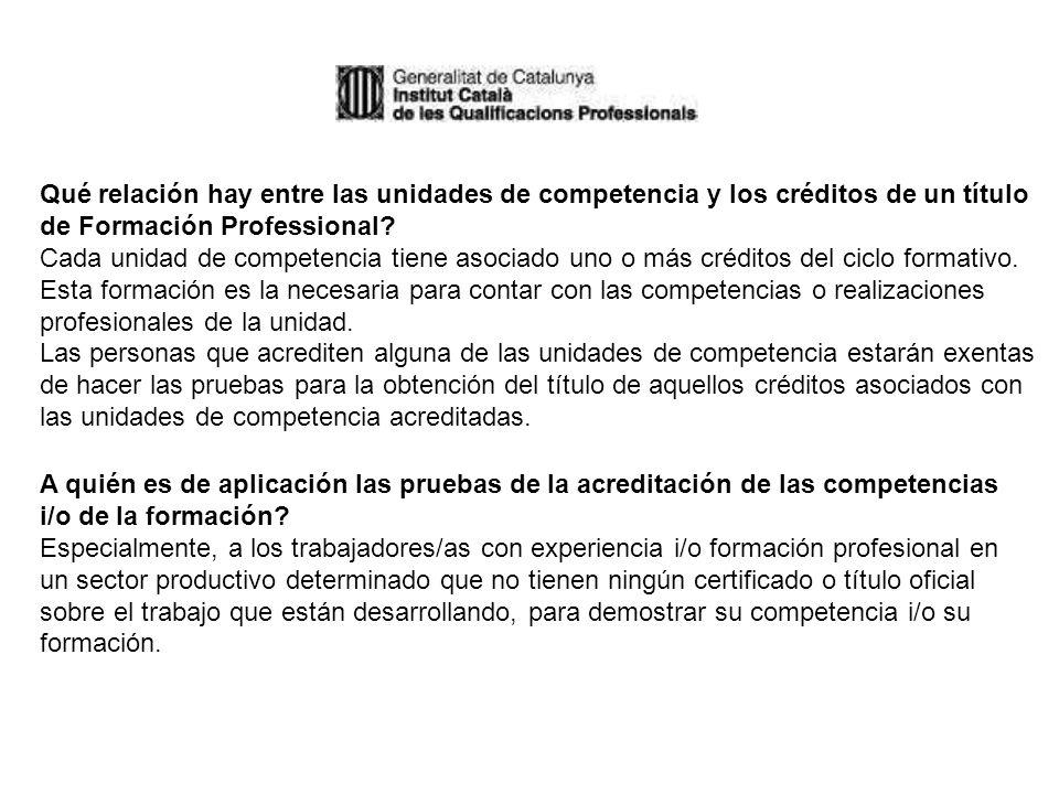 Qué relación hay entre las unidades de competencia y los créditos de un título de Formación Professional.