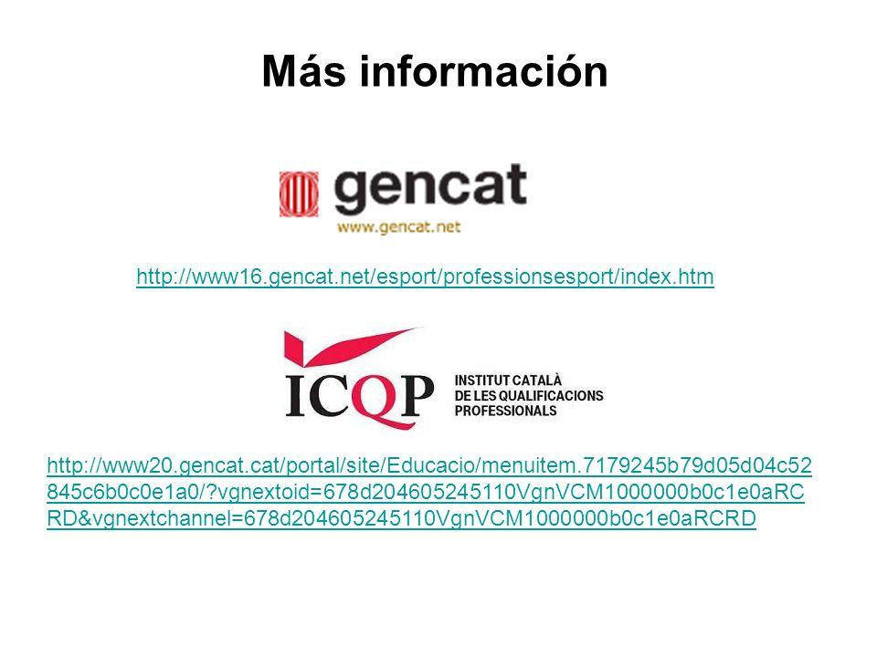 http://www20.gencat.cat/portal/site/Educacio/menuitem.7179245b79d05d04c52 845c6b0c0e1a0/ vgnextoid=678d204605245110VgnVCM1000000b0c1e0aRC RD&vgnextchannel=678d204605245110VgnVCM1000000b0c1e0aRCRD Más información http://www16.gencat.net/esport/professionsesport/index.htm
