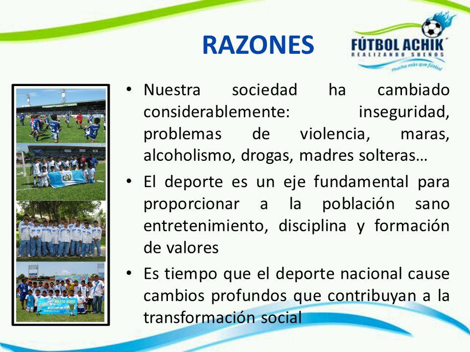 FILOSOFIA Inculcar valores que forjen carácter a la niñez y juventud guatemalteca por medio de su participación en un programa exitoso de deportes y que con su entusiasmo motiven la participación de sus familias, sus amigos y la sociedad