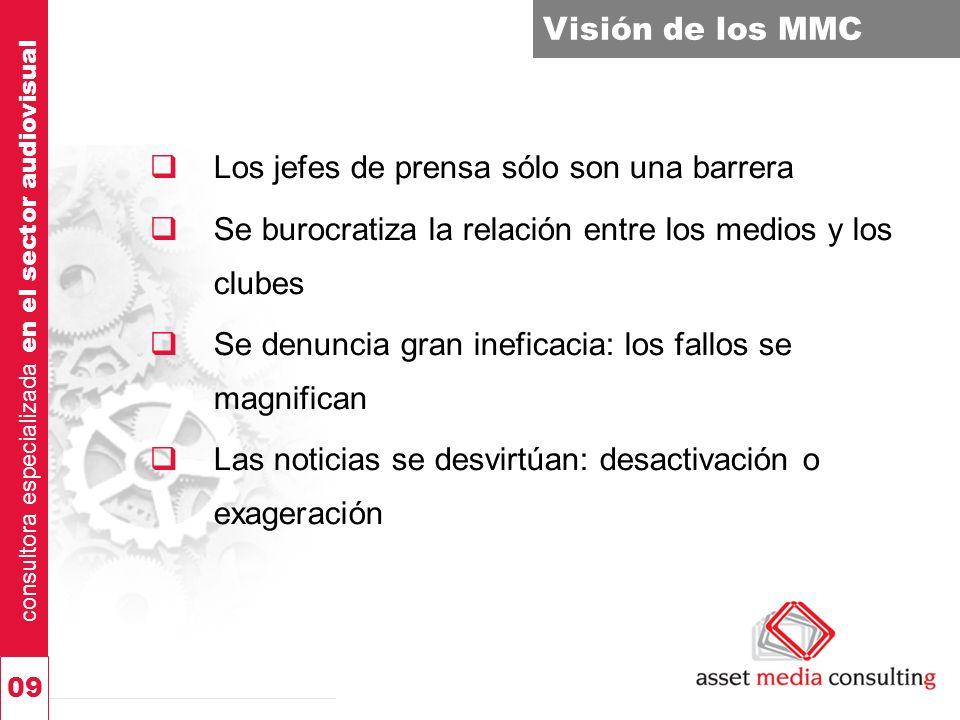 consultora especializada en el sector audiovisual 09 Visión de los MMC Los jefes de prensa sólo son una barrera Se burocratiza la relación entre los m