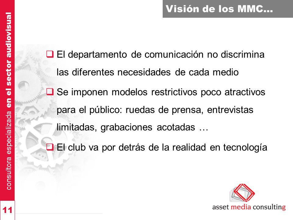 consultora especializada en el sector audiovisual 11 Visión de los MMC… El departamento de comunicación no discrimina las diferentes necesidades de ca