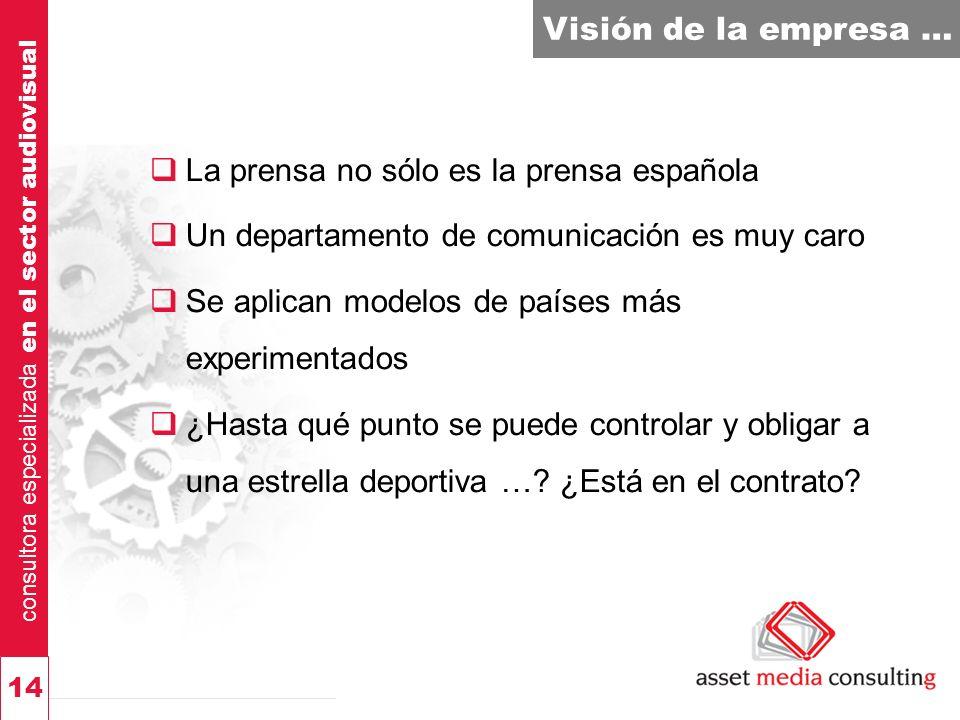 consultora especializada en el sector audiovisual 14 Visión de la empresa … La prensa no sólo es la prensa española Un departamento de comunicación es