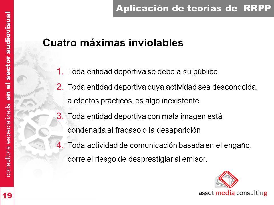 consultora especializada en el sector audiovisual 19 Aplicación de teorías de RRPP Cuatro máximas inviolables 1.