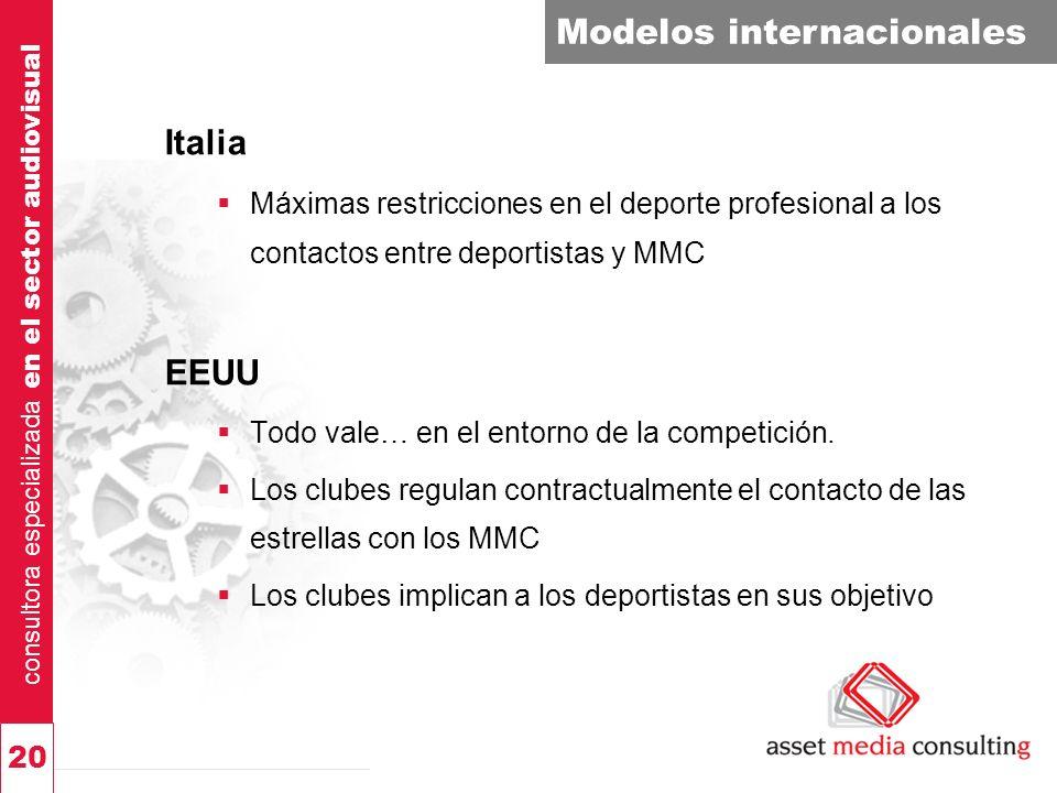 consultora especializada en el sector audiovisual 20 Modelos internacionales Italia Máximas restricciones en el deporte profesional a los contactos entre deportistas y MMC EEUU Todo vale… en el entorno de la competición.