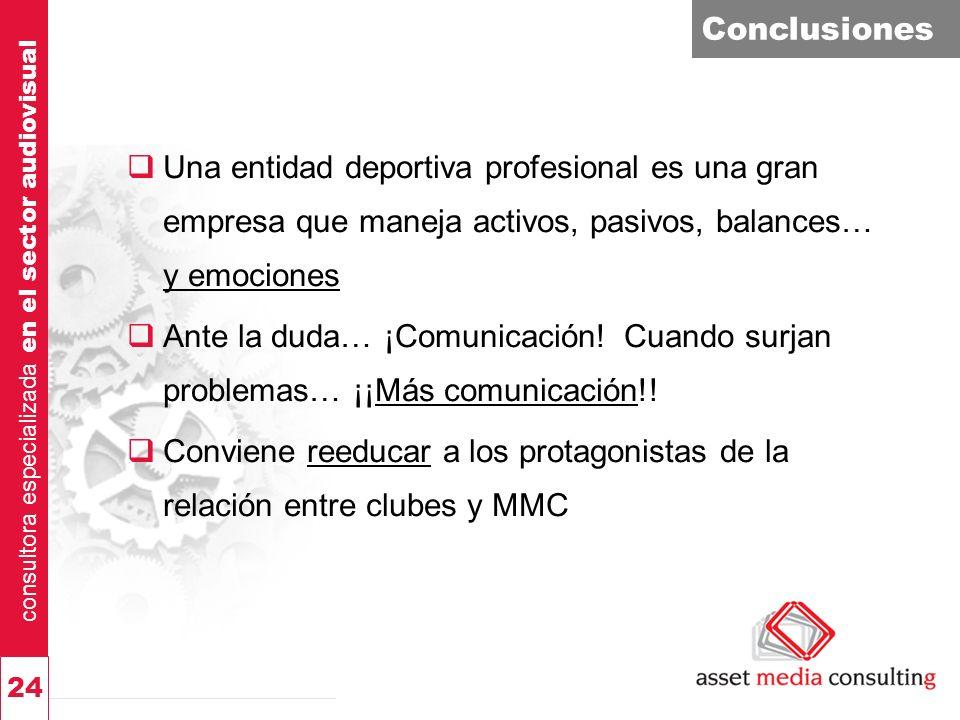 consultora especializada en el sector audiovisual 24 Conclusiones Una entidad deportiva profesional es una gran empresa que maneja activos, pasivos, balances… y emociones Ante la duda… ¡Comunicación.
