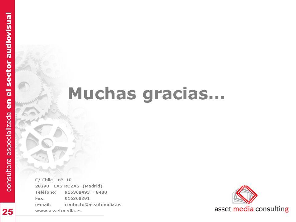 consultora especializada en el sector audiovisual 25 Muchas gracias... C/ Chile nº 10 28290 LAS ROZAS (Madrid) Teléfono: 916368493 - 8480 Fax:91636839