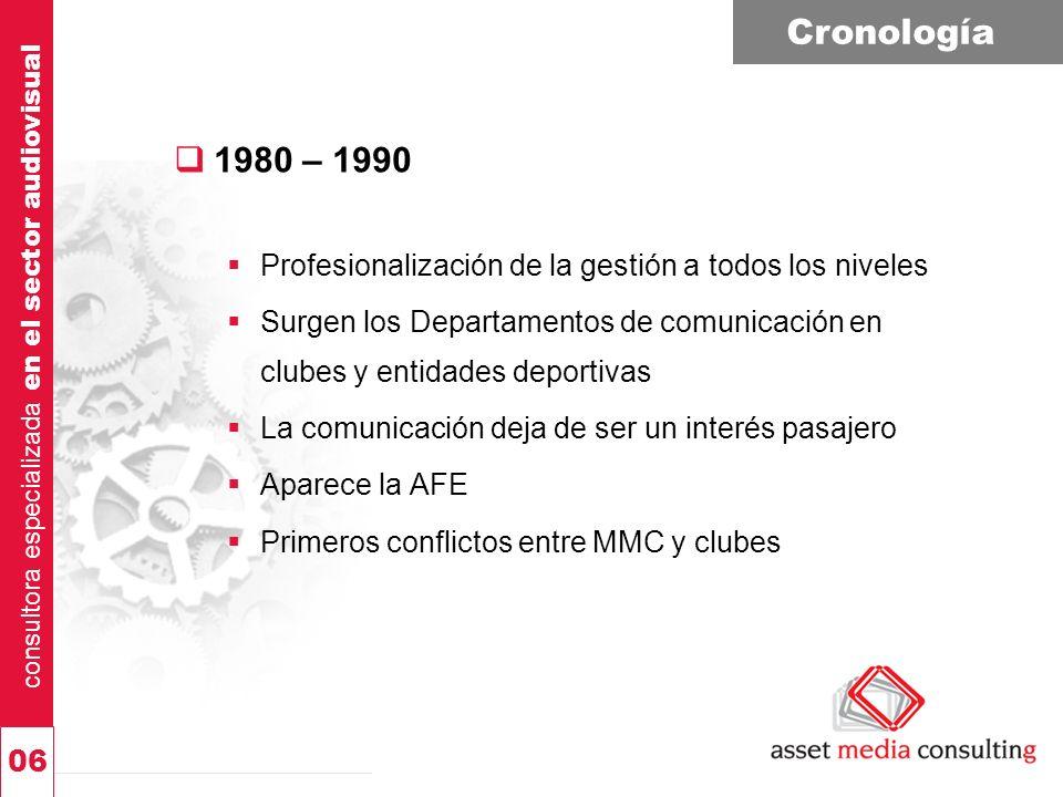 consultora especializada en el sector audiovisual 06 Cronología 1980 – 1990 Profesionalización de la gestión a todos los niveles Surgen los Departamen