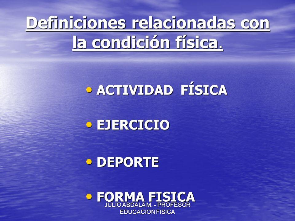 JULIO ABDALA M. - PROFESOR EDUCACION FISICA Definiciones relacionadas con la condición física. ACTIVIDAD FÍSICA ACTIVIDAD FÍSICA EJERCICIO EJERCICIO D