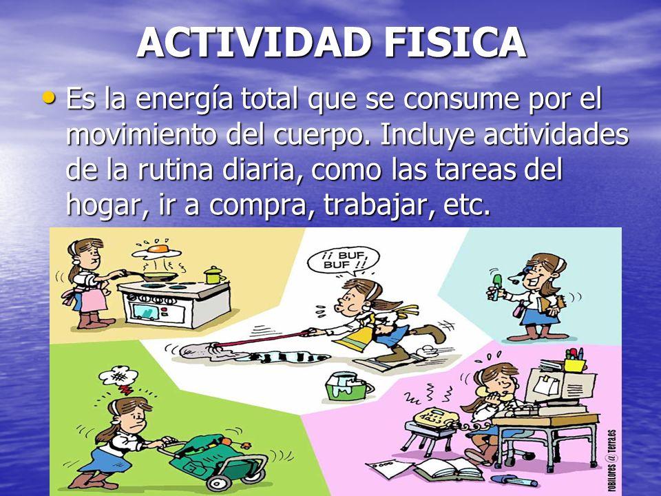 JULIO ABDALA M. - PROFESOR EDUCACION FISICA ACTIVIDAD FISICA Es la energía total que se consume por el movimiento del cuerpo. Incluye actividades de l