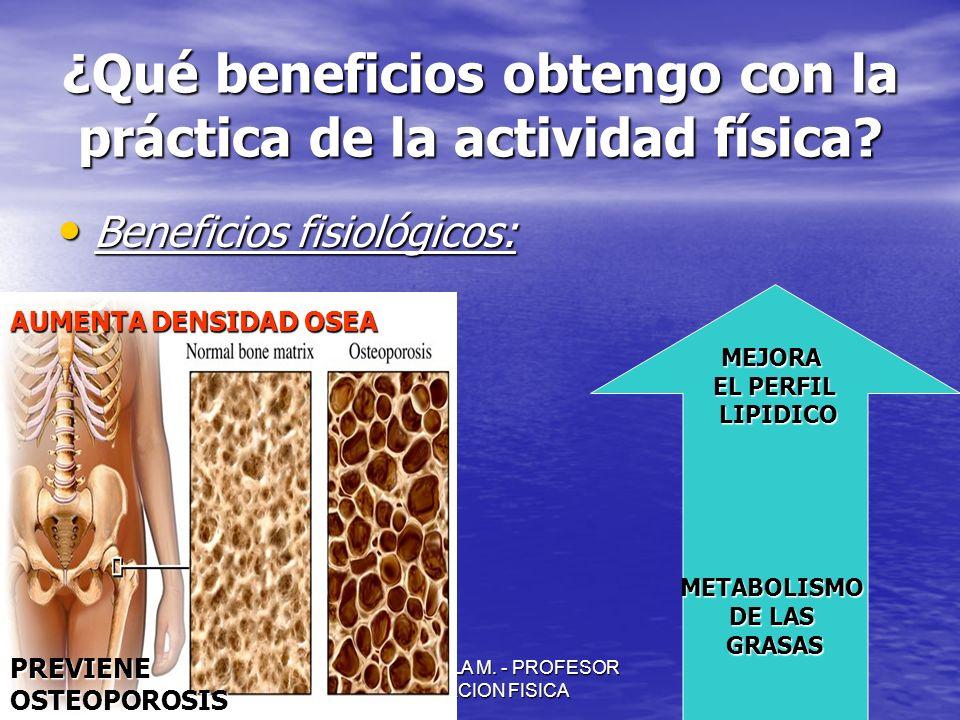 JULIO ABDALA M. - PROFESOR EDUCACION FISICA ¿Qué beneficios obtengo con la práctica de la actividad física? Beneficios fisiológicos: Beneficios fisiol