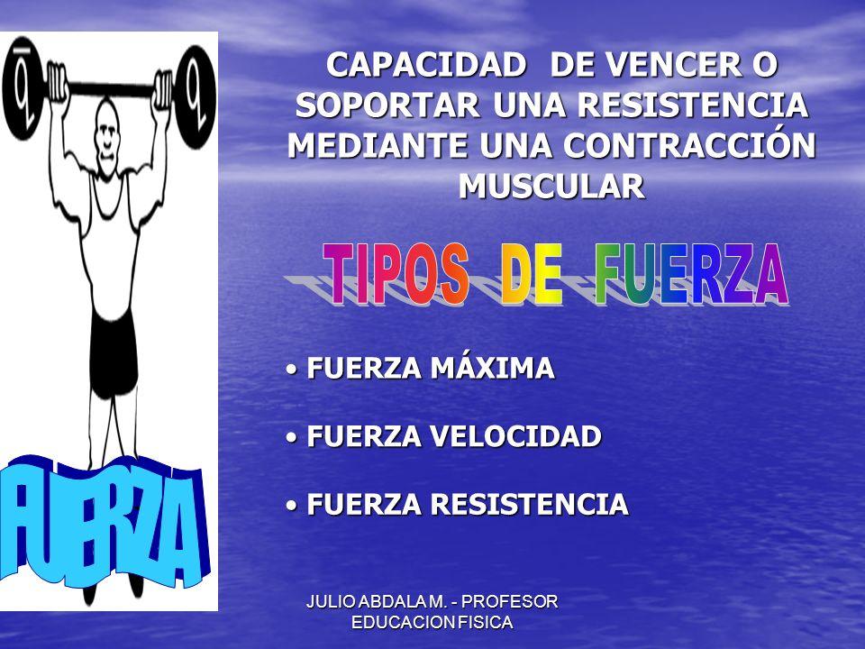 JULIO ABDALA M. - PROFESOR EDUCACION FISICA CAPACIDAD DE VENCER O SOPORTAR UNA RESISTENCIA MEDIANTE UNA CONTRACCIÓN MUSCULAR FUERZA MÁXIMA FUERZA MÁXI