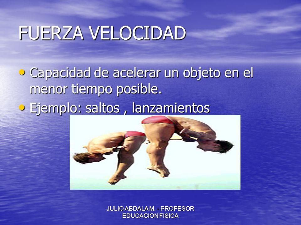 JULIO ABDALA M. - PROFESOR EDUCACION FISICA FUERZA VELOCIDAD Capacidad de acelerar un objeto en el menor tiempo posible. Capacidad de acelerar un obje