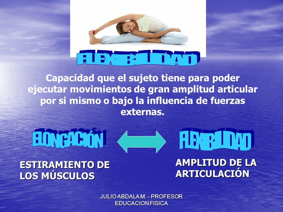 JULIO ABDALA M. - PROFESOR EDUCACION FISICA Capacidad que el sujeto tiene para poder ejecutar movimientos de gran amplitud articular por si mismo o ba