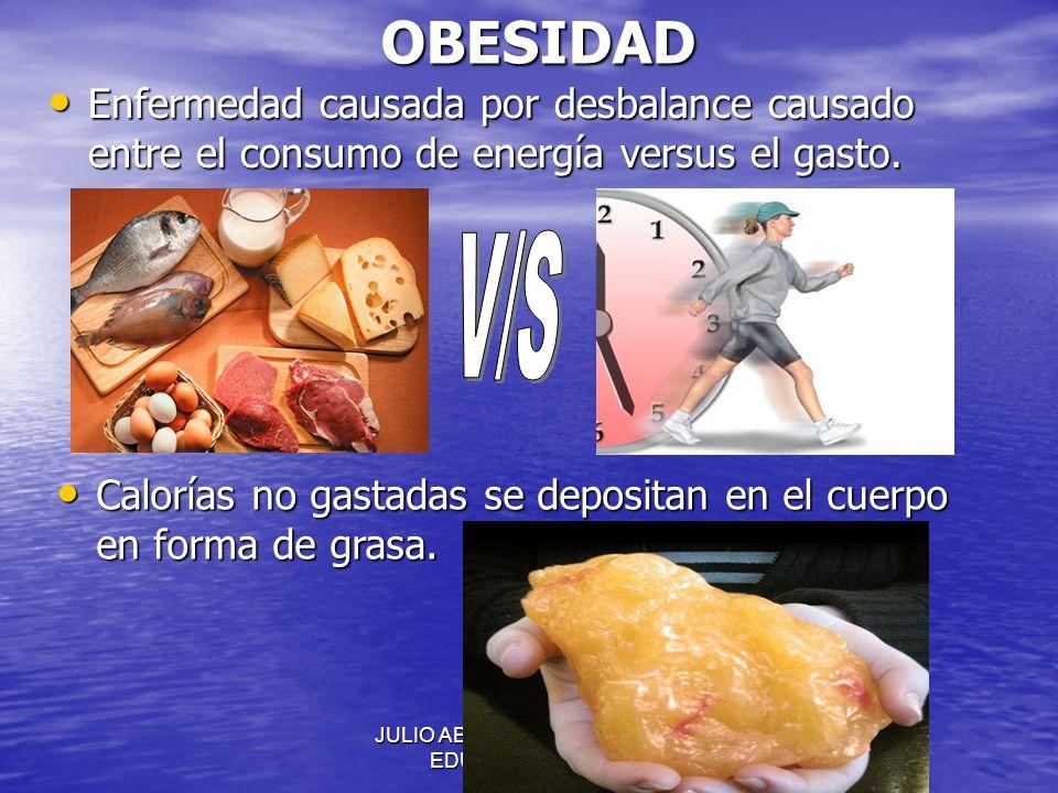 JULIO ABDALA M. - PROFESOR EDUCACION FISICAOBESIDAD Enfermedad causada por desbalance causado entre el consumo de energía versus el gasto. Enfermedad