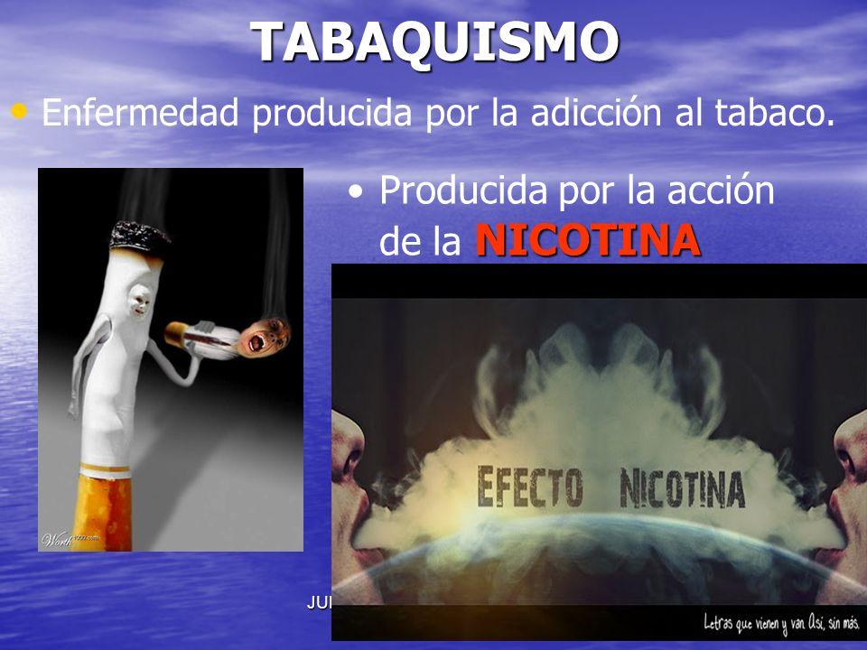JULIO ABDALA M. - PROFESOR EDUCACION FISICATABAQUISMO Enfermedad producida por la adicción al tabaco. NICOTINAProducida por la acción de la NICOTINA