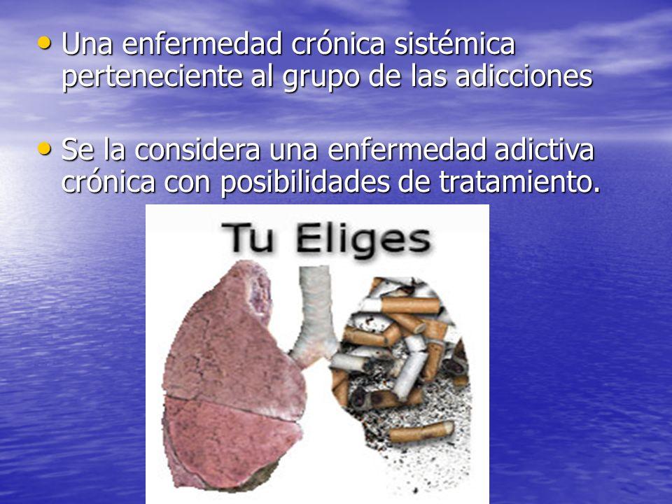 JULIO ABDALA M. - PROFESOR EDUCACION FISICA Una enfermedad crónica sistémica perteneciente al grupo de las adicciones Una enfermedad crónica sistémica