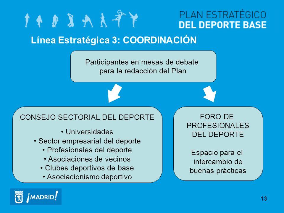 13 Línea Estratégica 3: COORDINACIÓN Participantes en mesas de debate para la redacción del Plan CONSEJO SECTORIAL DEL DEPORTE Universidades Sector em