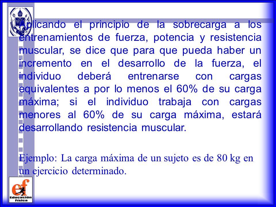 EL PRINCIPIO DE LA SOBRECARGA PROGRESIVA El principio de la sobrecarga progresiva establece que para aumentar la fuerza o la potencia muscular, las de