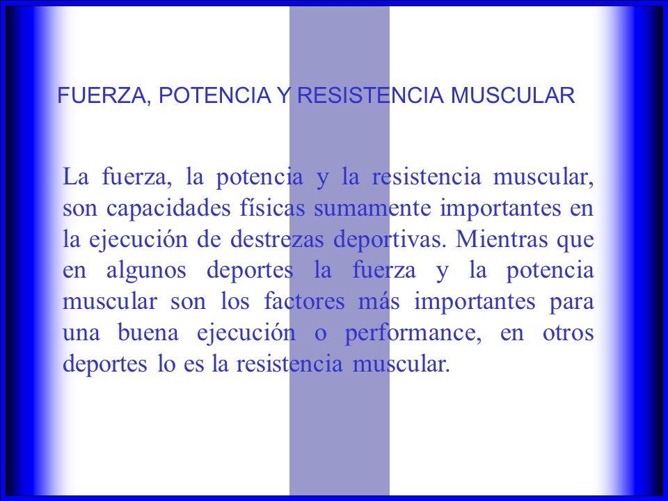 FUERZA, POTENCIA Y RESISTENCIA MUSCULAR La fuerza, la potencia y la resistencia muscular, son capacidades físicas sumamente importantes en la ejecución de destrezas deportivas.