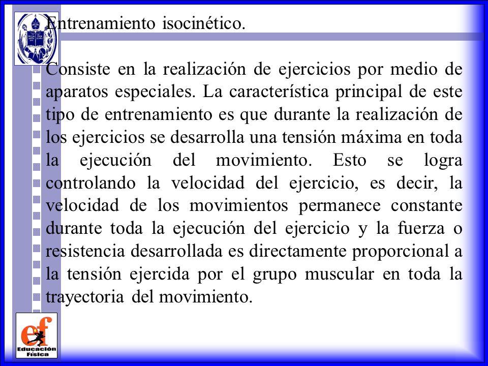 Los ejercicios para aumentar la resistencia, la fuerza o la potencia isotónica se pueden realizar con: -El peso del propio cuerpo. -Aparatos gimnástic