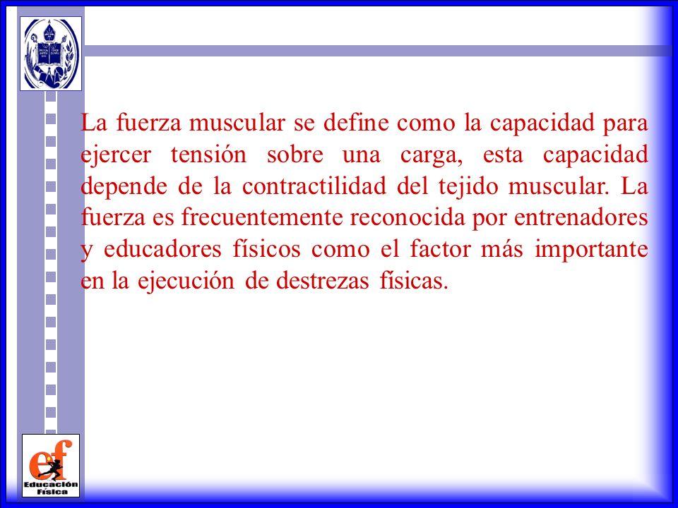 La fuerza muscular se define como la capacidad para ejercer tensión sobre una carga, esta capacidad depende de la contractilidad del tejido muscular.