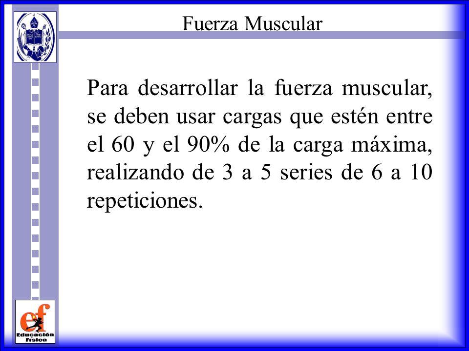 Resistencia Muscular Como regla general, se dice que para desarrollar la resistencia muscular, se debe entrenar o trabajar con cargas que oscilan entr