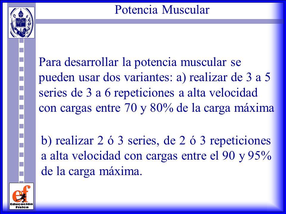 Fuerza Muscular Para desarrollar la fuerza muscular, se deben usar cargas que estén entre el 60 y el 90% de la carga máxima, realizando de 3 a 5 serie