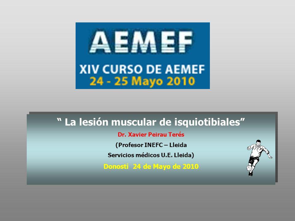 La lesión muscular de isquiotibiales Dr. Xavier Peirau Terés (Profesor INEFC – Lleida Servicios médicos U.E. Lleida) Donosti 24 de Mayo de 2010 La les