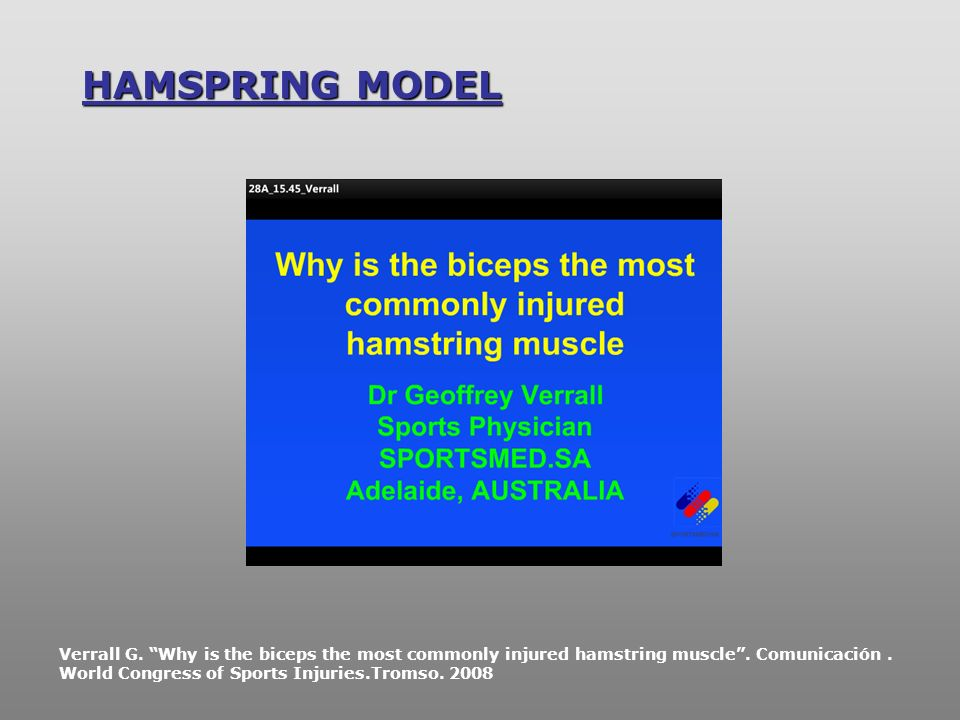 HAMSPRING MODEL Verrall G. Why is the biceps the most commonly injured hamstring muscle. Comunicación. World Congress of Sports Injuries.Tromso. 2008