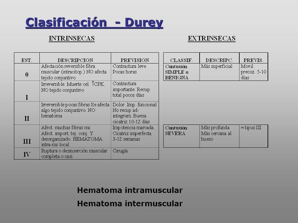 Hematoma intramuscular Hematoma intermuscular Clasificación - Durey