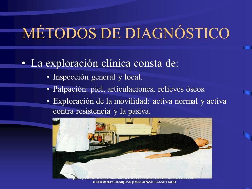 JUAN JOSÉ GONZÁLEZ SANTIAGO- ESPECIALISTA EN MEDICINA DEPORTIVA Y ORTOMOLECULARJUAN JOSÉ GONZÁLEZ SANTIAGO MÉTODOS DE DIAGNÓSTICO La exploración clínica consta de: Inspección general y local.