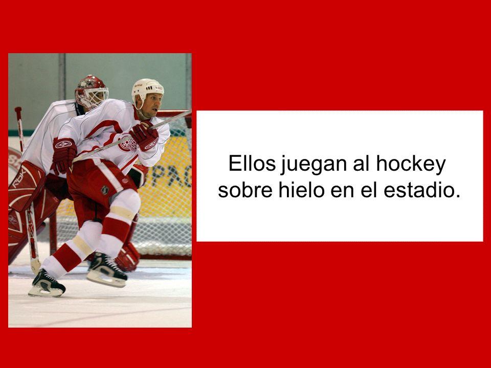 Ellos juegan al hockey sobre hielo en el estadio.