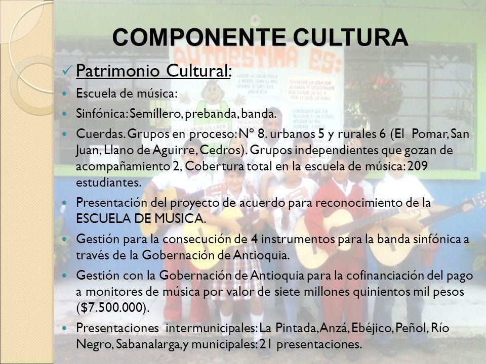 Patrimonio Cultural: Escuela de música: Sinfónica: Semillero, prebanda, banda. Cuerdas. Grupos en proceso: Nº 8. urbanos 5 y rurales 6 (El Pomar, San