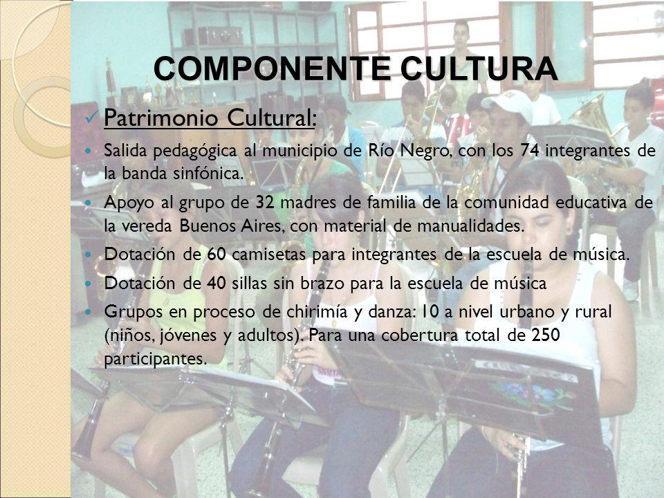 Patrimonio Cultural: Salida pedagógica al municipio de Río Negro, con los 74 integrantes de la banda sinfónica. Apoyo al grupo de 32 madres de familia