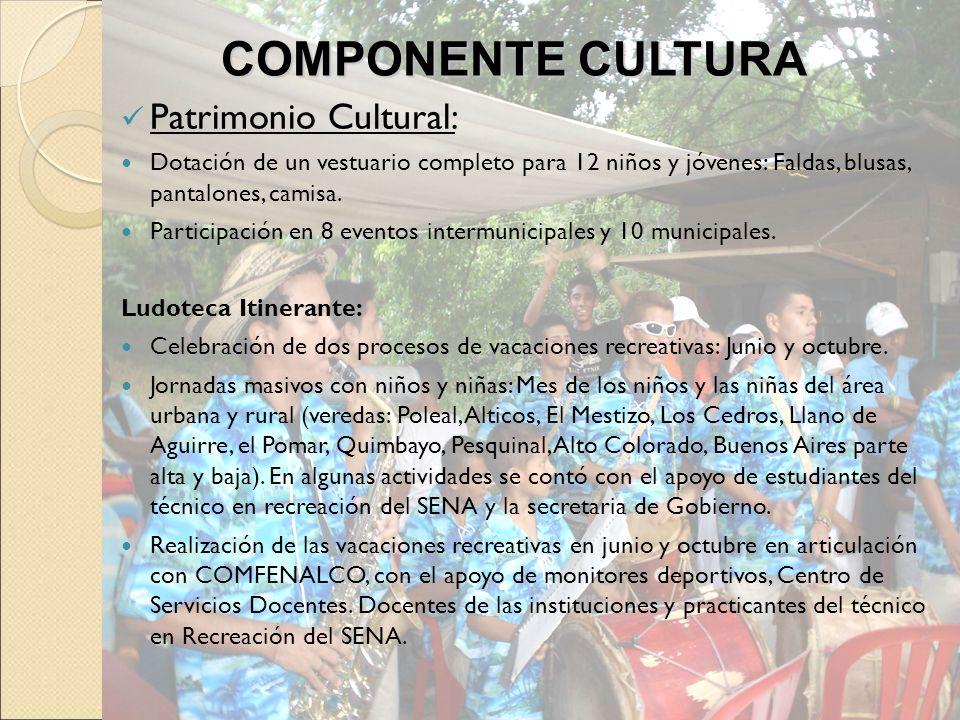 Patrimonio Cultural: Dotación de un vestuario completo para 12 niños y jóvenes: Faldas, blusas, pantalones, camisa. Participación en 8 eventos intermu