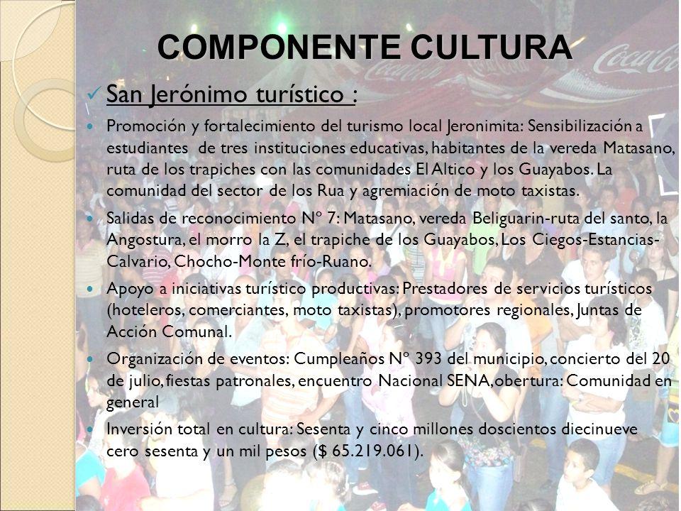 San Jerónimo turístico : Promoción y fortalecimiento del turismo local Jeronimita: Sensibilización a estudiantes de tres instituciones educativas, hab