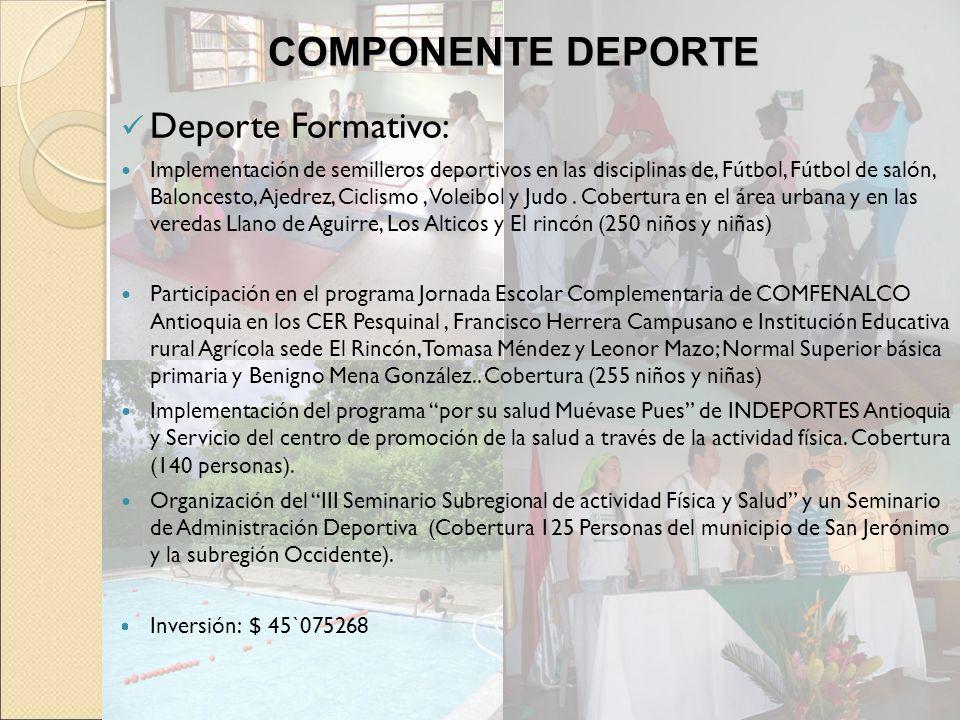 COMPONENTE DEPORTE Deporte Formativo: Implementación de semilleros deportivos en las disciplinas de, Fútbol, Fútbol de salón, Baloncesto, Ajedrez, Cic