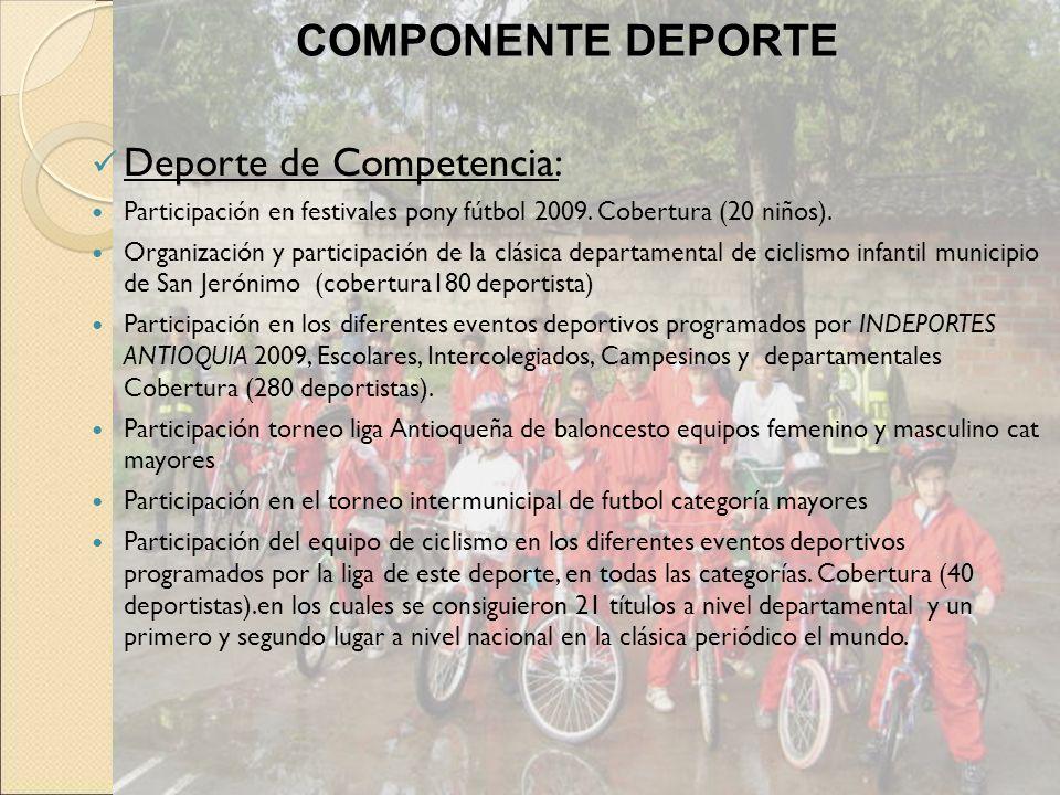 Deporte de Competencia: Participación en festivales pony fútbol 2009. Cobertura (20 niños). Organización y participación de la clásica departamental d