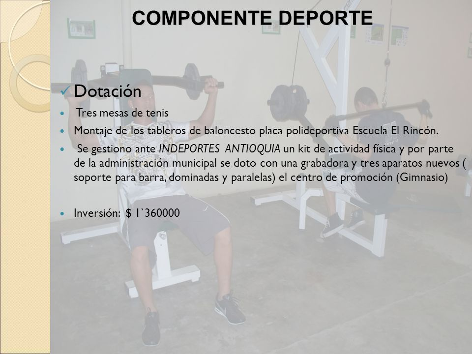 Dotación Tres mesas de tenis Montaje de los tableros de baloncesto placa polideportiva Escuela El Rincón. Se gestiono ante INDEPORTES ANTIOQUIA un kit