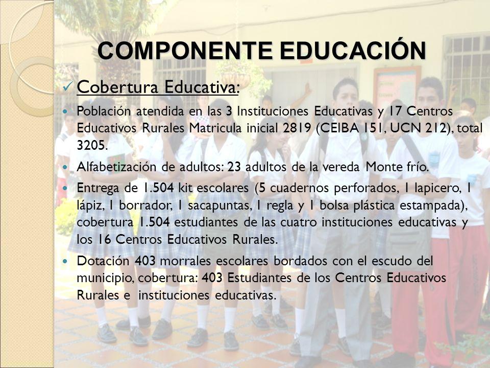 Cobertura Educativa: Población atendida en las 3 Instituciones Educativas y 17 Centros Educativos Rurales Matricula inicial 2819 (CEIBA 151, UCN 212),