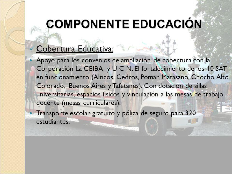 Cobertura Educativa: Apoyo para los convenios de ampliación de cobertura con la Corporación La CEIBA y U C N. El fortalecimiento de los 10 SAT en func