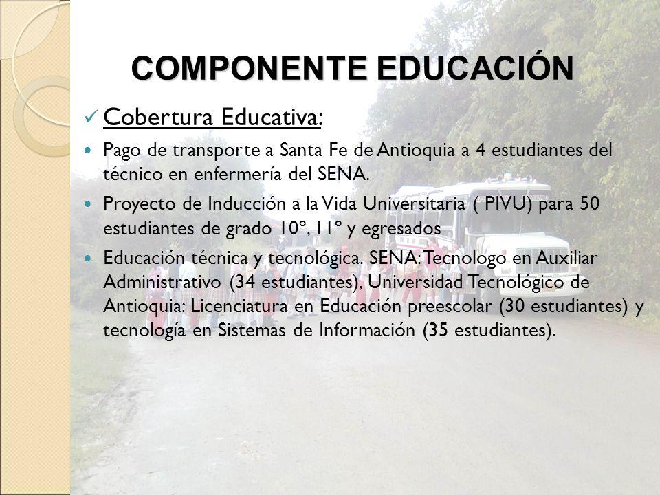 Cobertura Educativa: Pago de transporte a Santa Fe de Antioquia a 4 estudiantes del técnico en enfermería del SENA. Proyecto de Inducción a la Vida Un