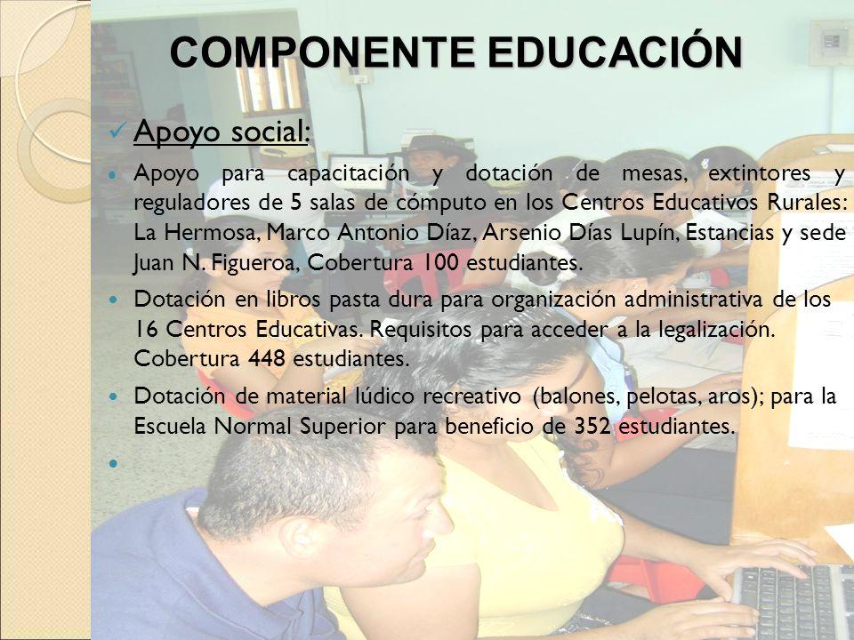 Apoyo social: Apoyo para capacitación y dotación de mesas, extintores y reguladores de 5 salas de cómputo en los Centros Educativos Rurales: La Hermos