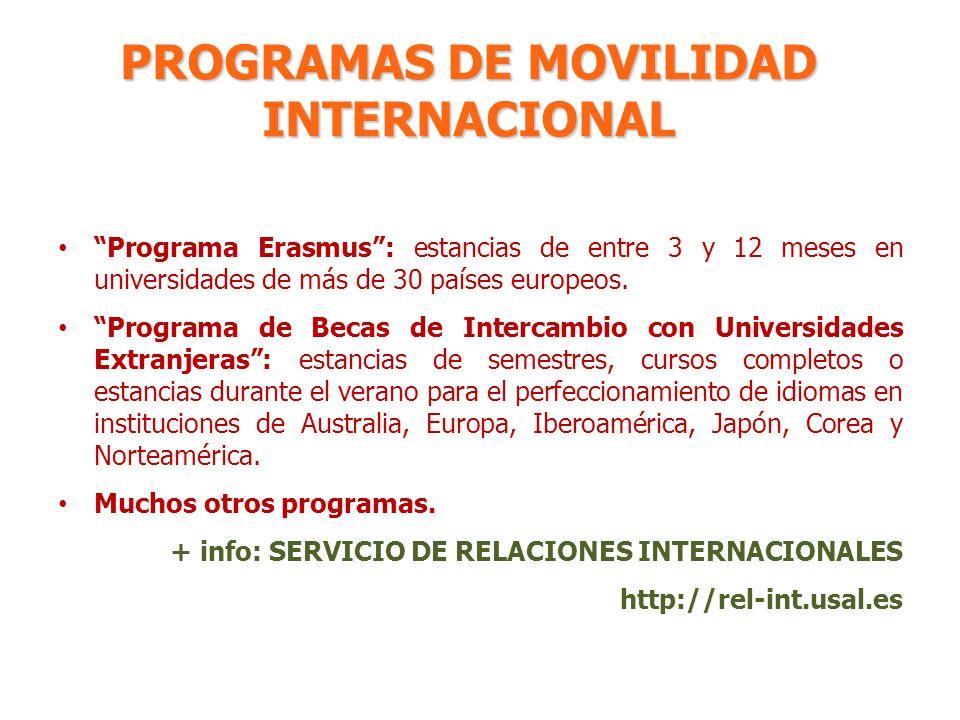 PROGRAMAS DE MOVILIDAD INTERNACIONAL Programa Erasmus: estancias de entre 3 y 12 meses en universidades de más de 30 países europeos. Programa de Beca