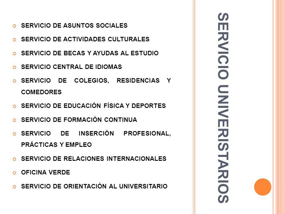 SERVICIO UNIVERISTARIOS SERVICIO DE ASUNTOS SOCIALES SERVICIO DE ACTIVIDADES CULTURALES SERVICIO DE BECAS Y AYUDAS AL ESTUDIO SERVICIO CENTRAL DE IDIO