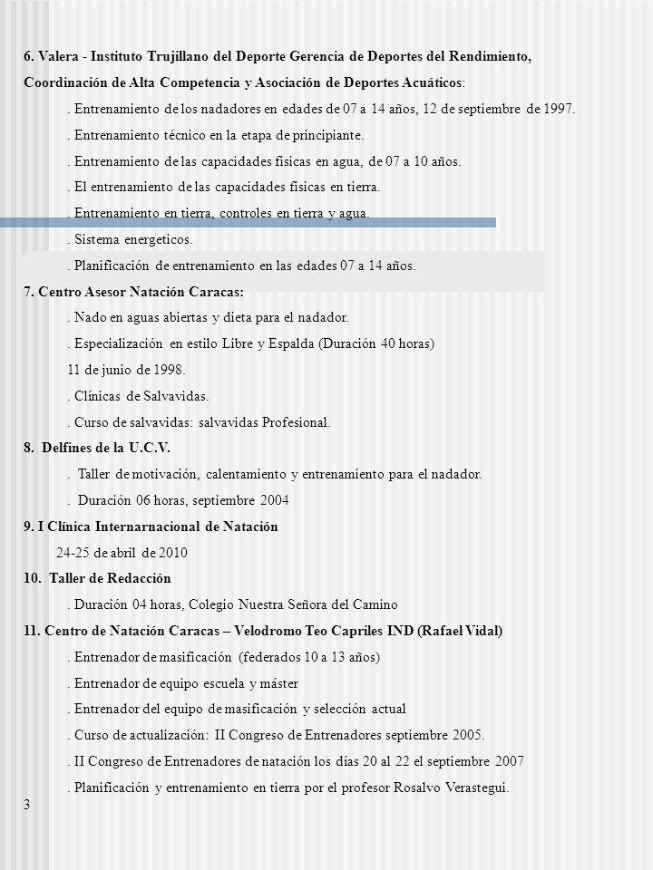6. Valera - Instituto Trujillano del Deporte Gerencia de Deportes del Rendimiento, Coordinación de Alta Competencia y Asociación de Deportes Acuáticos
