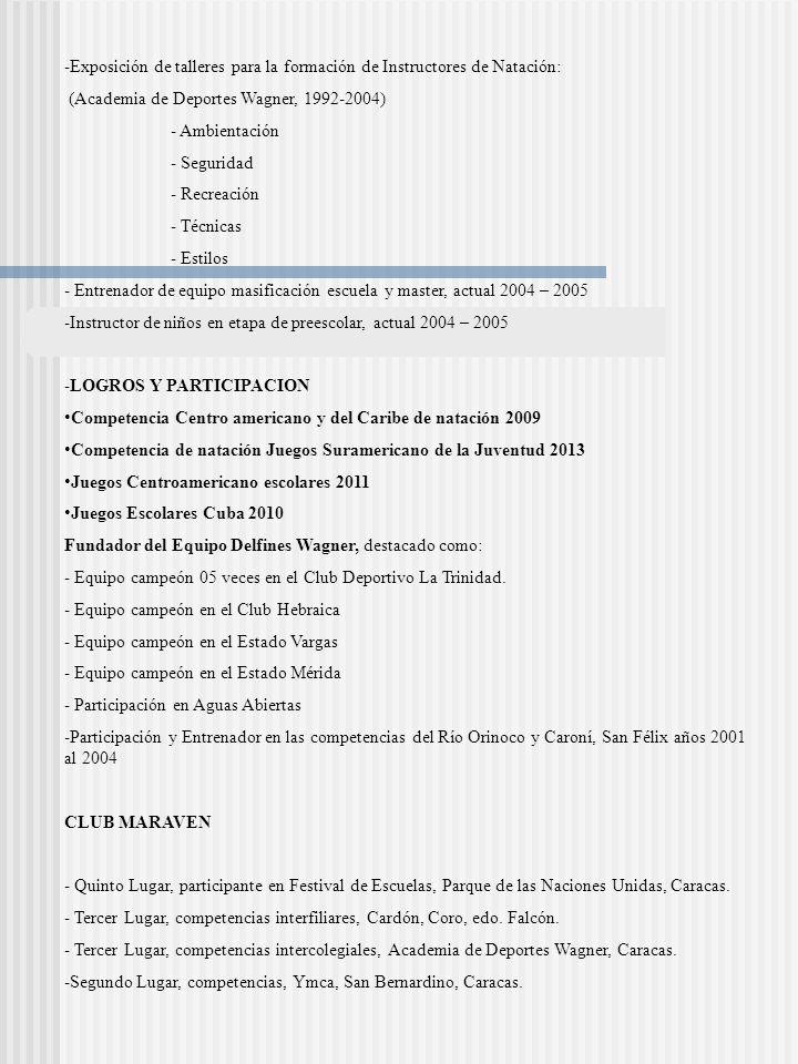 -Exposición de talleres para la formación de Instructores de Natación: (Academia de Deportes Wagner, 1992-2004) - Ambientación - Seguridad - Recreació